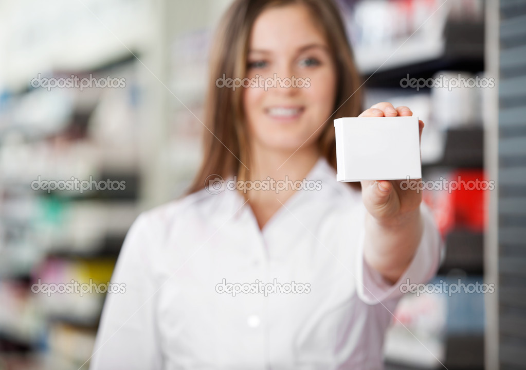 Female pharmacist advising to prefer prescribed medicine — Stock Photo #8812544