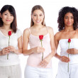 Multiethnic Woman Holding Rose — Stock Photo