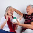 Stock Photo: Senior MGiving Gift to His Wife