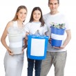 Stock Photo: Family Holding Recycle Bin