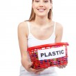 Woman Holding Red Basket — Stock Photo