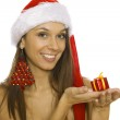 Santa woman holding gift wearing Santa hat — Stock Photo #8027450