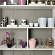 Stock Photo: Shelves with goods