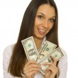 Attractive business woman holding dollars — Stock Photo #9110758
