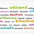 Welcome, Bienvenue, Willkommen Word Cloud — Stockvectorbeeld