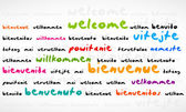 Welcome, Bienvenue, Willkommen Word Cloud — Stock Vector