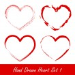 Hand drawn heart set 1 — Stockvectorbeeld