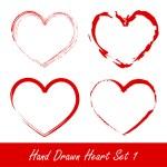 Hand drawn heart set 1 — Stock Vector