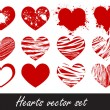 Vector de stock : Grunge hearts vector set