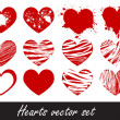 ストックベクタ: Grunge hearts vector set