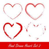 Set de corazón dibujado a mano — Vector de stock