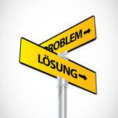Problem Lösung sign — Stock Vector
