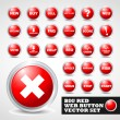 Red modern web button set — Stock Vector