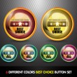Stock Vector: Colorful Best choice button set