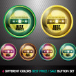 Colorful Best price sale button set — Stock Vector #9812083