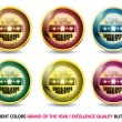 Stock Vector: Colorful Brand of year ''Excellence Quality'' button set