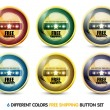 Colorful free shipping button set - Stock Vector