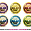 Colorful 100% zufriedenheits garantie button set — Imagen vectorial