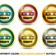 Colorful Geld Zurück Garantie Button Set — Stock Vector