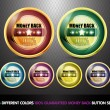 Colorful 100% Guaranteed Money Back Button Set — Stockvektor