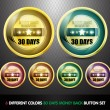 Colorful Money back guaranteed '30 Days' button Set — Stockvektor