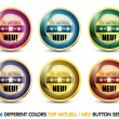 Stock Vector: Colorful Top Aktuell 'Neu' Button Set