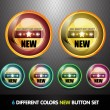 Colorful 'New' Button Set - Stock Vector
