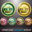 Colorful One Year Warranty Button Set - Stock Vector