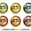 Colorful Risk Free Guaranteed Button Set — Stockvectorbeeld