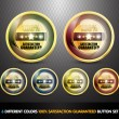 Colorful 100% Satisfaction Guarantee Button Set — Imagen vectorial