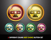Colorful Best choice button set — Stock Vector