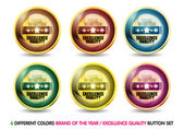 Colorful Brand of the year ''Excellence Quality'' button set — Stock Vector