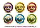 Colorful 100% zufriedenheits garantie button set — Stock Vector