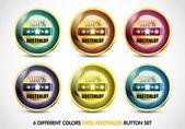 Colorful 100% Kostenlos Button Set — Stock Vector