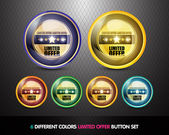 Colorful Limited Offer Button set — Stock Vector
