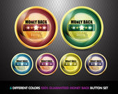Colorful 100% Guaranteed Money Back Button Set — Stock Vector