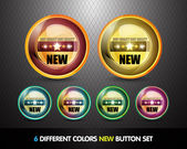 Colorful 'New' Button Set — Stock Vector