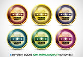 Colorful 100% Premium Quality Button Set — Stock Vector