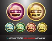 Colorful 100% Qualitat Button Set — Stock Vector