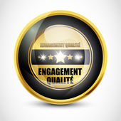 Engagement Qualite button — Vector de stock