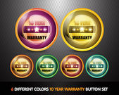 Colorful Ten Year Warranty Button Set — Stock Vector