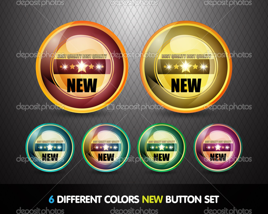 Colorful 'New' Button Set vector illustration — Stock Vector #9812615