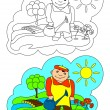 The picture for coloring. Gardener. — Cтоковый вектор