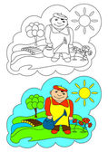 The picture for coloring. Gardener. — Stock Vector