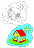 The picture for coloring. Home. — Stock Vector
