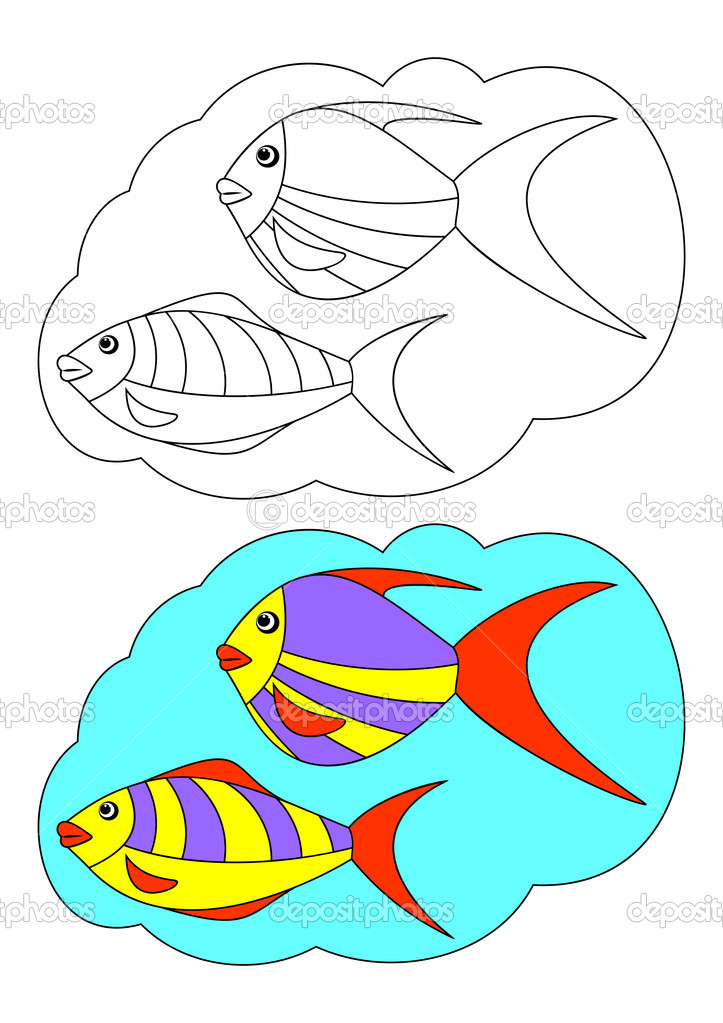 The picture for coloring. Contour of fish and painted fish on a white background. — Stock Vector #10204907