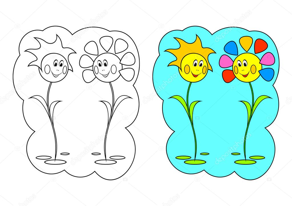 The picture for coloring. Contour of flowers and painted flowers on a white background. — Imagens vectoriais em stock #10204909