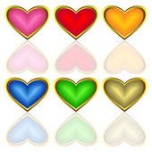 Set of multicoloured hearts. — Stock Vector