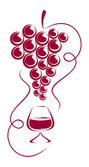 Grapes and wine glass. — Stock Vector