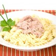 Pasta with tuna — Stock Photo